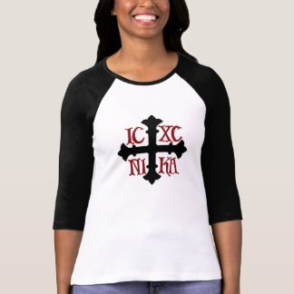 Women's 3/4 Sleeve Raglan ICXC NIKA Cross T-Shirt