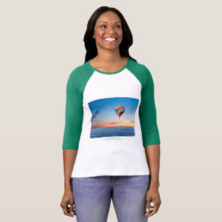 Women's 3/4 Sleeve Raglan T-Shirt, White-Green T-Shirt
