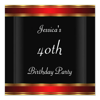 "Women's 40th birthday Party  Black Red Art Deco 5.25"" Square Invitation Card"