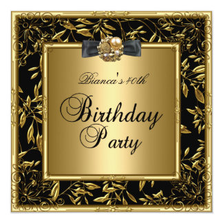 "Womens 40th Birthday Party Gold Black Flower 5.25"" Square Invitation Card"