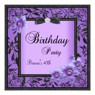 "Womens 40th Birthday Party Purple Black Flower 5.25"" Square Invitation Card"