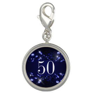 Women's 50th Birthday Blue Black Sparkly Diamond Charms