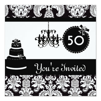 "WOMEN'S 50th Birthday Party Black & White Damask I 5.25"" Square Invitation Card"