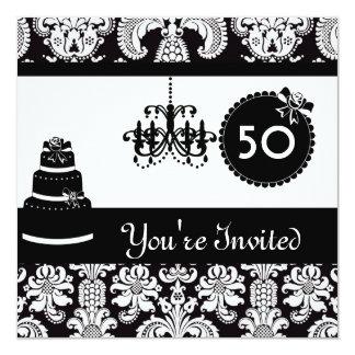 "WOMEN'S 50th Birthday Party Black & White Damask I 5.25"" Square Invitation Card"
