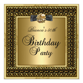 "Womens 50th Birthday Party Gold Black lace 5.25"" Square Invitation Card"