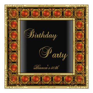 """Womens 50th Birthday Party Red Gold Black Jewel 5.25"""" Square Invitation Card"""