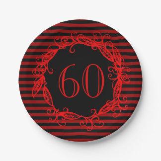 Women's 60th Birthday Black Red Swirly Paper Plate