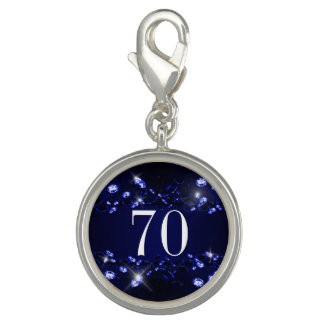 Women's 70th Birthday Blue Black Sparkly Diamond Charms