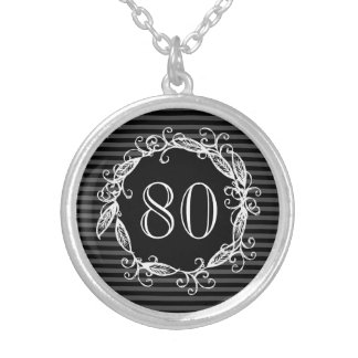 Women's 80th Birthday White Black Grey Swirly Silver Plated Necklace