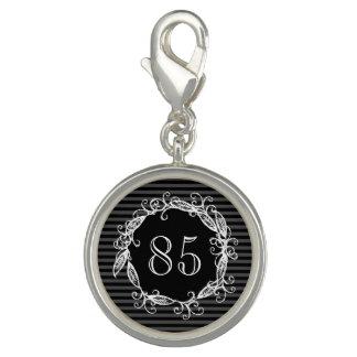 Women's 85th Birthday White Black Grey Swirly Charm