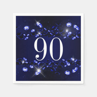 Women's 90th Birthday Blue Black Sparkly Diamond Paper Napkin