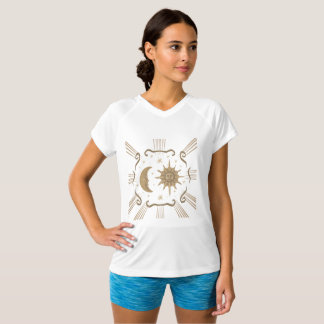 Women's active wear spiritual sun and moon design. T-Shirt
