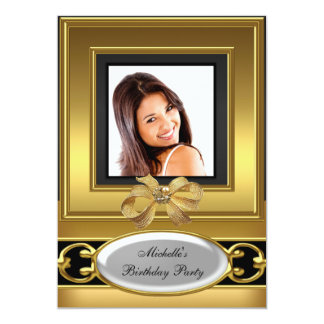 "Womens Add Photo Gold Black Birthday Party 5"" X 7"" Invitation Card"