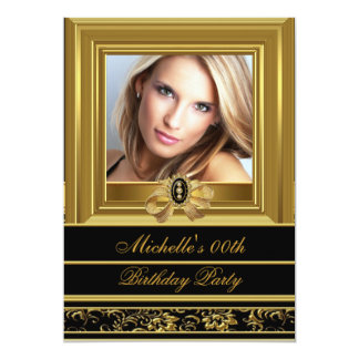 "Womens Add Photo Gold Black Damask Birthday Party 5"" X 7"" Invitation Card"