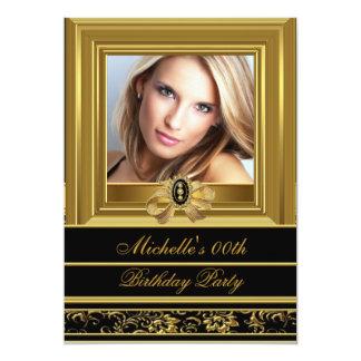 "Womens Add Photo Gold Black Damask Birthday Party 5"" X 7"" Invitation Card"
