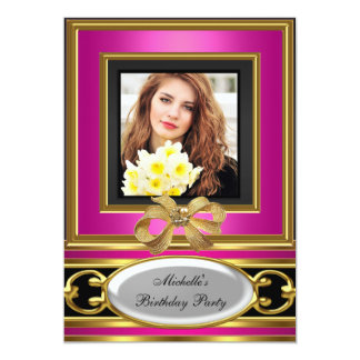 "Womens Add Photo Pink Gold Black Birthday Party 5"" X 7"" Invitation Card"