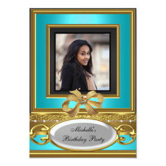 "Womens Add Photo Teal Gold Black Birthday Party 5"" X 7"" Invitation Card"