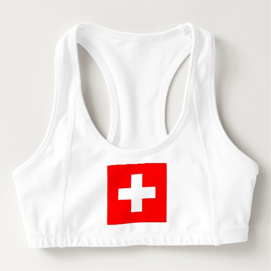 Women's Alo Sports Bra with flag of Switzerland