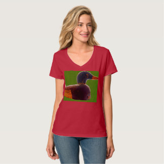 Women's antique duck decoy v-neck t-shirt