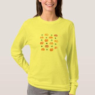 Women's basic long sleeve T-shirt with pumpkins