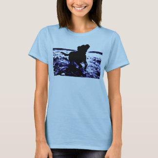 Womens basic t-shirt black lab playing in water