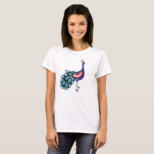 Women's Basic T-Shirt, White-peacock T-Shirt