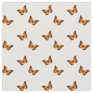 Women's Beautiful Orange Butterfly On White Fabric