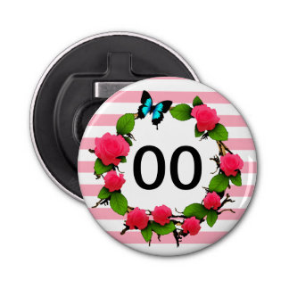 Womens Beautiful Rose 85th 88th 89th 90th Birthday Button Bottle Opener