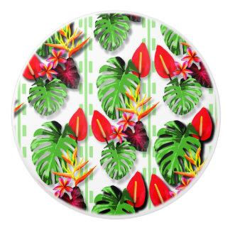 Women's Beautiful Trendy Tropical Leaf Flower Ceramic Knob