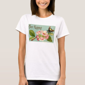 Women's Bee Happy Vintage Floral T-shirt (Basic T)