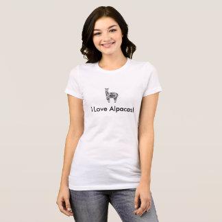 "Women's Bella Canvas Jersey V-Neck ""I Love Alpacas T-Shirt"
