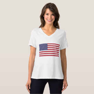 Women's BellaCanvas Relaxed Flag V-Neck T-Shirt