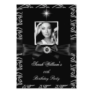"Women's Birthday Party Black White Silver Photo 4 5"" X 7"" Invitation Card"