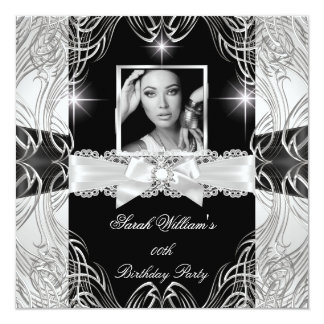 "Women's Birthday Party Black White Silver Photo 5.25"" Square Invitation Card"