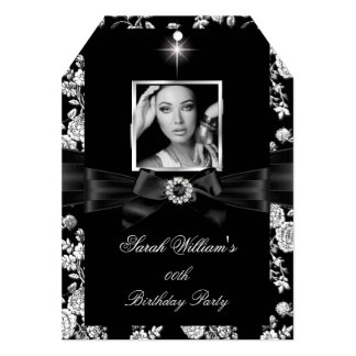 "Women's Birthday Party Black White Silver Photo 5 5"" X 7"" Invitation Card"