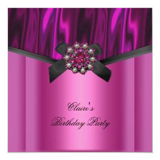 "Womens Birthday Party Pink Black Jewel Bow 5.25"" Square Invitation Card"