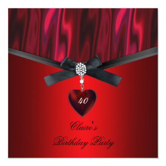 "Womens Birthday Party Red Black Jewel Bow 5.25"" Square Invitation Card"