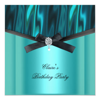 "Womens Birthday Party Teal Blue Black Jewel Bow 5.25"" Square Invitation Card"