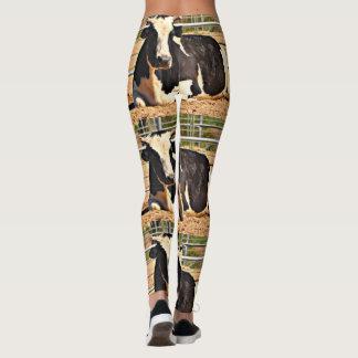 Women's Black and White Cow Leggings