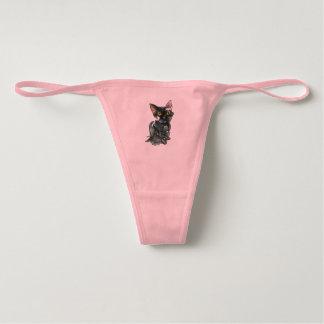 Women's Black Cat Bella Cotton Spandex Thong
