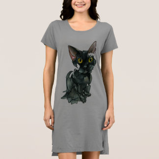 Women's Black Cat T-Shirt Dress