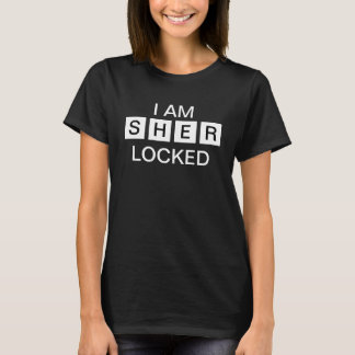 Women's black I am sher locked T-Shirt