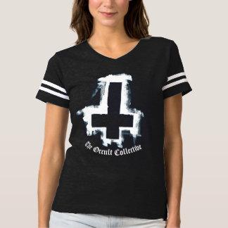 Womens Black Inverted Cross Football Jersey Tshirt
