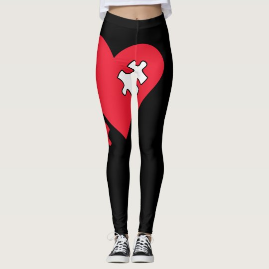 Womens Black & Red Missing You Leggings