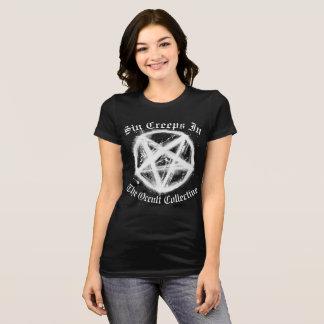 Women's Black Sin Creeps In Pentagram Tshirt