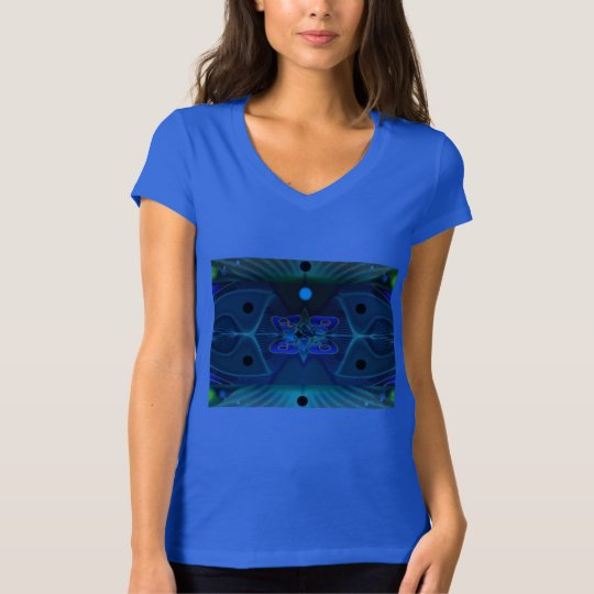 Women's Blue Jersey V-Neck T-Shirt - Space Fantasy