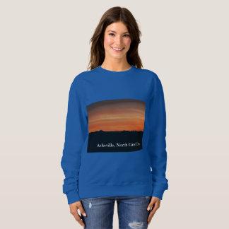 Women's Blue Sweatshirt with Sunset Scene