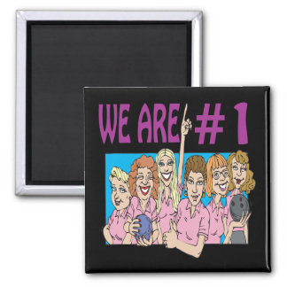 Womens Bowling Team Square Magnet