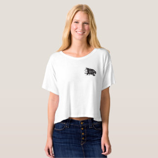 Women's Boxy Crop Top T-Shirt with Panther Head