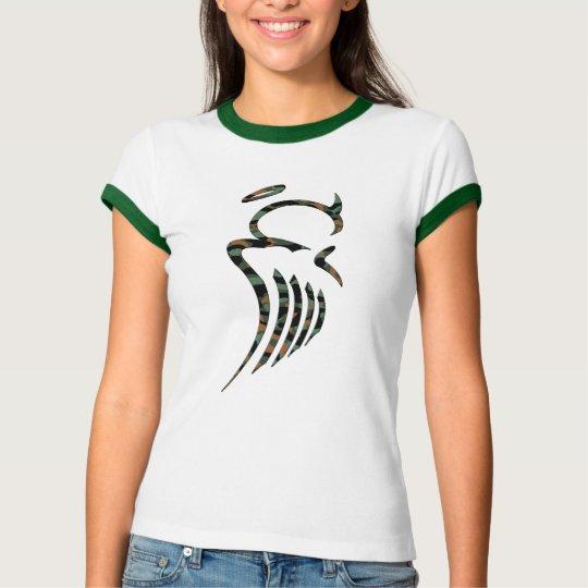 Women's Camo Angel Ringer T T-Shirt